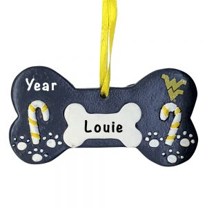 West Virginia Mountaineers Dog Bone Personalized Christmas Ornament