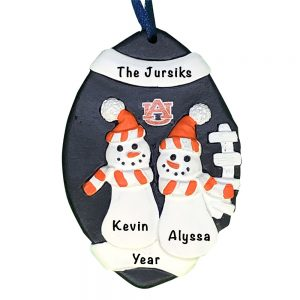 Auburn Tigers Football Snowman Couple Personalized Christmas Ornament