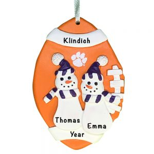 Clemson Tigers Football Snowman Couple Personalized Christmas Ornament