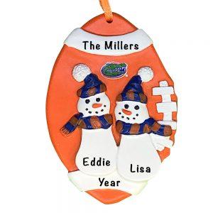 Florida Gators Football Snowman Couple Personalized Christmas Ornament