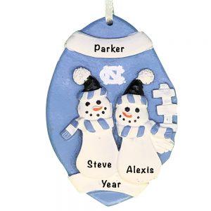 North Carolina Tar Heels Football Snowman Couple Personalized Christmas Ornament