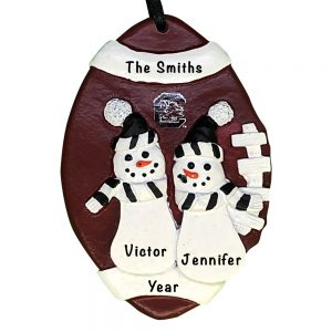 South Carolina Gamecocks Football Snowman Couple Personalized Christmas Ornament