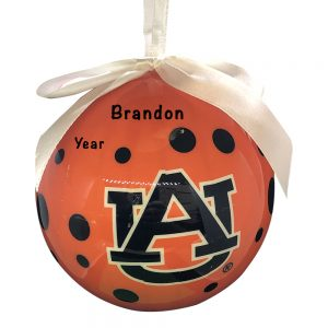 Auburn Tigers Polka Dot Ball Personalized Christmas Ornament