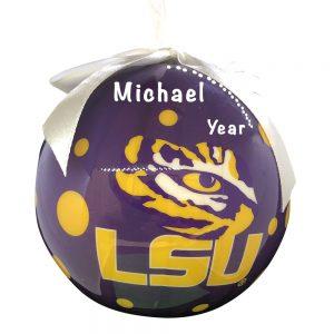 Louisiana State University Tigers Polka Dot Ball Personalized Christmas Ornament