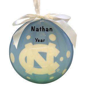 North Carolina Tar Heels Polka Dot Ball Personalized Christmas Ornament