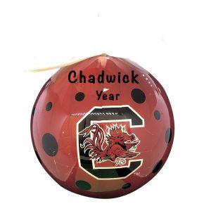 South Carolina Gamecocks Polka Dot Ball Personalized Christmas Ornament