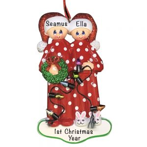 Personalized Christmas Light Couple Christmas Ornament
