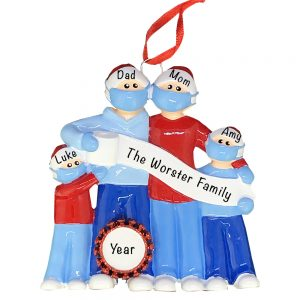 Coronavirus Family of 4 COVID-19 Personalized Christmas Ornament