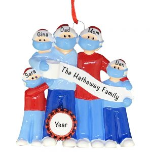 Coronavirus Family of 5 COVID-19 Personalized Christmas Ornament