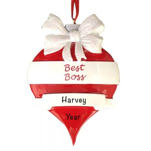 Best Boss Red Ornament Personalized Christmas Ornament
