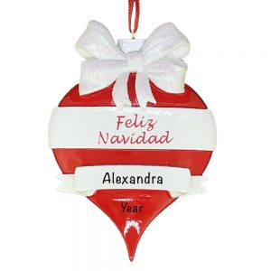 Feliz Navidad Red Personalized Christmas Ornament
