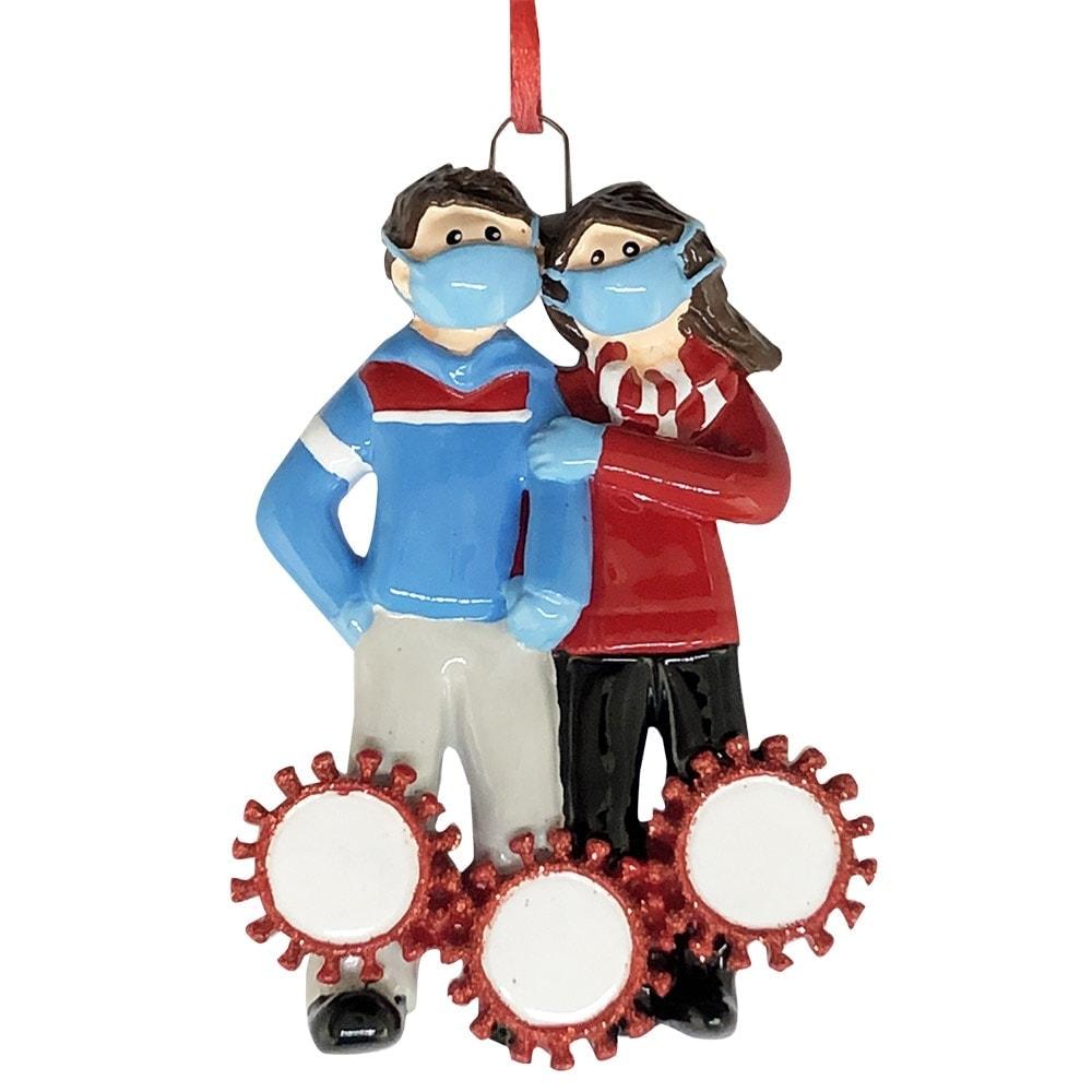 Coronavirus Couple With Masks Christmas Ornament