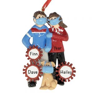 Couple With Dog COVID-19 Personalized Christmas Ornament