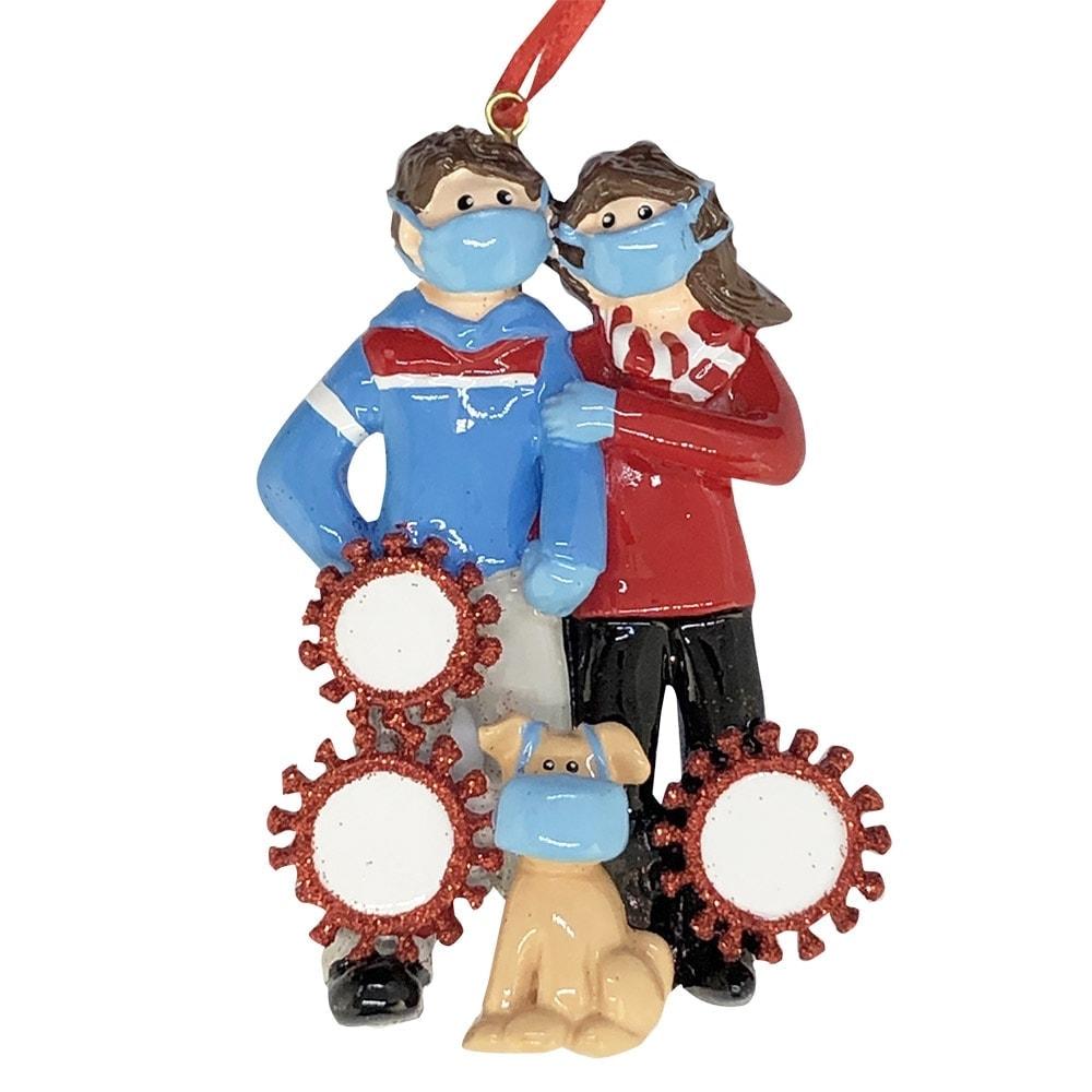 Coronavirus Couple And Dog With Masks Christmas Ornament