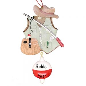 Fishing Vest Personalized Christmas Ornament