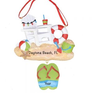 Beach Chair Toys and Sandals Personalized Christmas Ornament