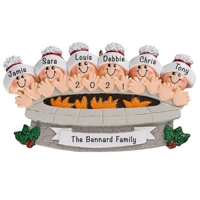 Personalized Fire Pit Family of 6 Christmas Ornament