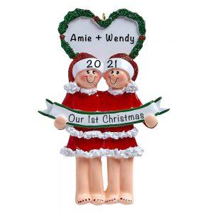 Personalized Lesbian Couple PJ Christmas Ornament