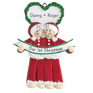Personalized Gay Couple Christmas Ornament Male
