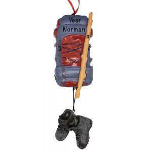 Backpacker Hiking Personalized Christmas Ornament