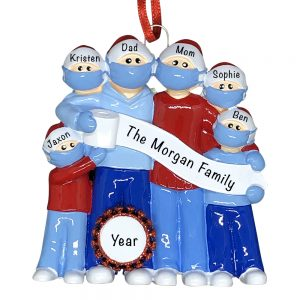 Coronavirus Family of 6 COVID-19 Personalized Christmas Ornament