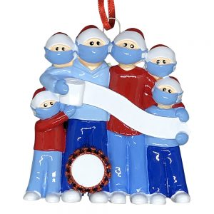 Coronavirus Family of 6 COVID-19 Personalized Christmas Ornament Blank