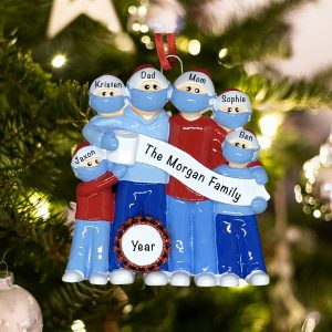Personalized Coronavirus Family of 6 COVID-19 Christmas Ornament