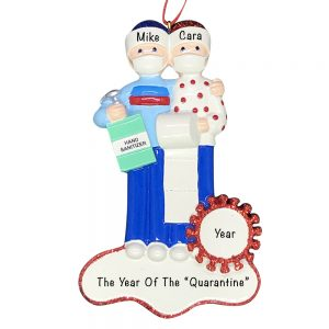 Coronavirus Couple Survival Kit COVID-19 Personalized Christmas Ornament