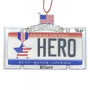 Veteran Hero License Plate Personalized Christmas Ornament