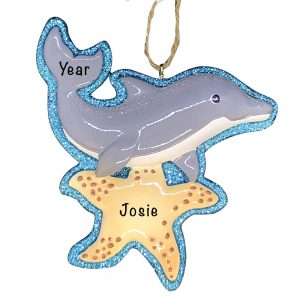 Dolphin Beach Personalized Christmas Ornament