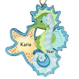 Seahorse Beach Personalized Christmas Ornament