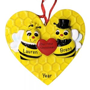 Bee Couple Our First Christmas Personalized Christmas Ornament