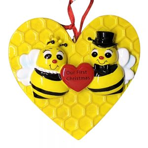 Bee Couple Our First Christmas Personalized Christmas Ornament - Blank