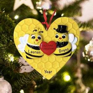 Personalized Bee Couple Our First Christmas Ornament