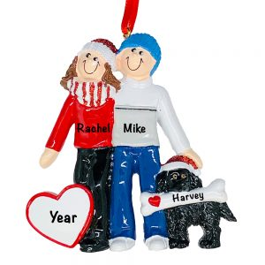 Winter Couple With Black Dog Personalized Christmas Ornament