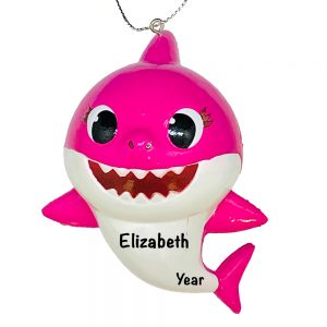 Baby Shark Pink Personalized Christmas Ornament