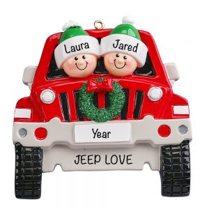Jeep Couple SUV Personalized Christmas Ornament