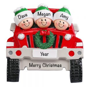 JEEP Family of 3 Personalized Christmas Ornament