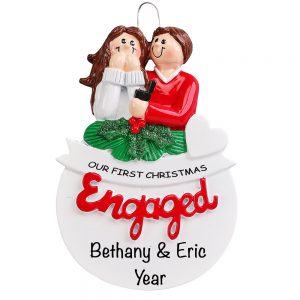 First Christmas Engaged Personalized Christmas Ornament - Blank