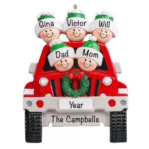 SUV Family of 5 Christmas Ornament