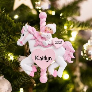 Pink Baby Carousel Christmas Ornament